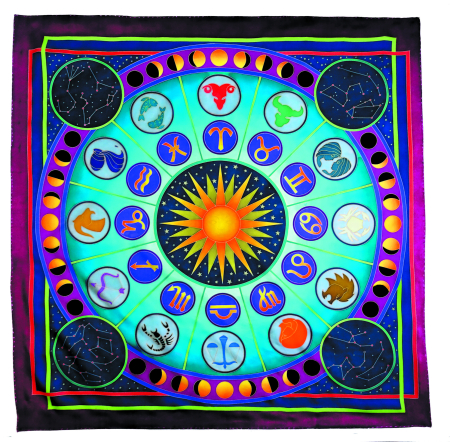 ZODIAC PIERRE WILLOCQ LA COLLECTION GUTTA-SEIDENTUCH 90x90cm Habotai /Ponge 9 Konturen SCHWARZ