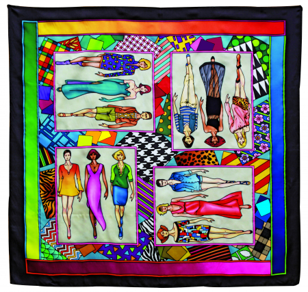 FASHION PIERRE WILLOCQ LA COLLECTION GUTTA-SEIDENTUCH 90x90cm Habotai /Ponge 8 Konturen SCHWARZ